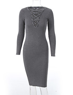 Women's Going out / Club Sexy / Casual Bodycon DressSolid V Neck Midi Long Sleeve