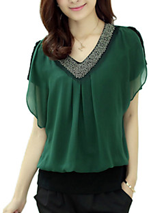 Women's Lace Solid Red/Black/Green Blouse,Plus Size Beaded V Neck Short Petal Sleeve