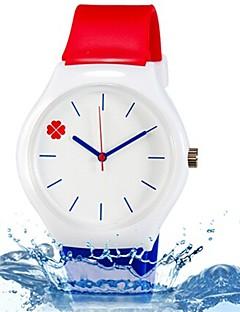 billige Børneure-Quartz Armbåndsur Farverig Silikone Bånd Blade Slik Afslappet Mode Sej Blåt Rød