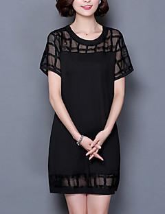 婦人向け ヴィンテージ / ストリートファッション カジュアル/普段着 / プラスサイズ Tシャツ ドレス,ソリッド ラウンドネック 膝上 半袖 ブラック ポリエステル 夏