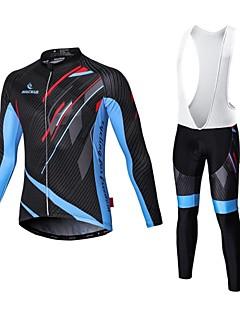 olcso -Malciklo Kerékpáros dzsörzé kantáros nadrággal Férfi Hosszú ujj Bike Kompressziós ruházat Kerékpározás TightsGyors szárítás Cipzár