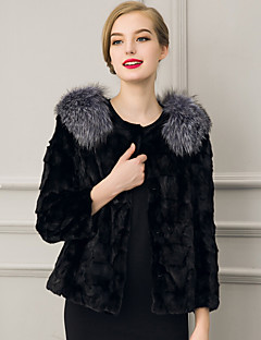 Women's Plus Size / Casual/Daily Street chic Fur CoatSolid Notch Lapel Long Sleeve Winter Black / Gray Faux Fur Thick