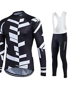 baratos -Fastcute Camisa para Ciclismo Homens Mulheres Unisexo Manga Longa Moto Conjuntos de Roupas Térmico/Quente Secagem Rápida Forro de