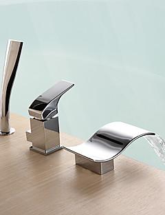 billige Foss-Badekarskran - Moderne Krom Romersk kar Keramisk Ventil Bath Shower Mixer Taps / Messing / Enkelt håndtak tre hull