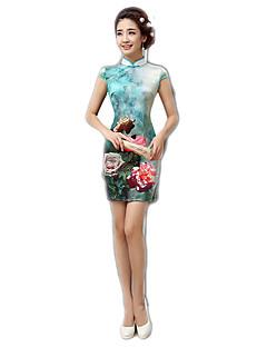 tanie Etniczne & Cultural Kostiumy-Tradycyjne Damskie Sukienki Sukienka typu A-Line Sukienka ołówkowa Cosplay Kwiaty Krótki rękaw Długość średnia