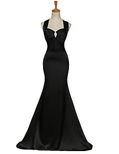 Mermaid / Trumpet Straps Sweep / Brush Train Satin Formal Evening Dress with Crystal Detailing Criss Cross by Shang Shang Xi