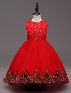 cheap Girls' Clothing-Girl's Party/Cocktail Solid DressPolyester Summer Red