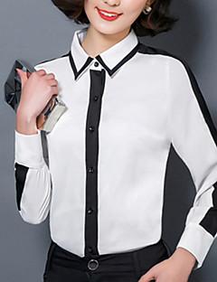 Dámské Barevné bloky Běžné/Denní Velké velikosti Košile-Všechna období Podšívka / Polyester Košilový límec Dlouhý rukáv Bílá Tenké