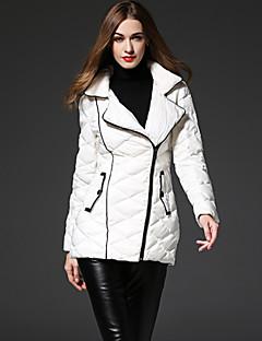 Χαμηλού Κόστους Γυναικεία Πανωφόρια-στερεά λευκά κάτω coatsimple frmz γυναικών κορυφώθηκε πέτο μακρύ μανίκι