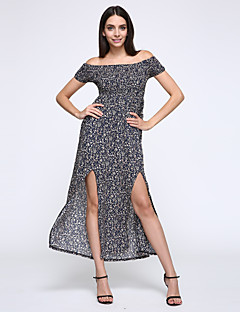 Women's Sexy / Simple / Street chic Print Sheath Dress,Off Shoulder Maxi Cotton / Spandex