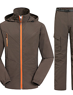 お買い得  ソフトシェル、フリース、ハイキングジャケット-男性用 ハイキングジャケット(パンツ付き) アウトドア 冬 速乾性 抗紫外線 防雨 抗放射線 高通気性 蚊・虫除け モイスチャーコントロール 超軽量生地 洋服セット キャンピング&ハイキング スキー 狩猟 釣り 登山