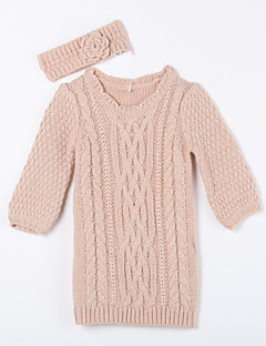 cheap Girls' Clothing-Daily Solid Sweater & Cardigan, Cotton Fall Pink