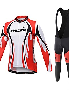 Malciklo ビブタイツ付きサイクリングジャージー 男性用 長袖 バイク コンプレッションウェア サイクリングタイツ 速乾性 フロントファスナー 耐久性 高通気性 (>15,001g) 高通気性 ビデオ圧縮 軽量素材 3Dパッド 超軽量生地 低摩擦 滑らか 快適