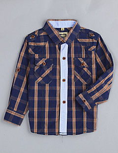 Χαμηλού Κόστους Ρούχα για Αγόρια-Πουκάμισο Βαμβάκι Houndstooth Καθημερινά Φθινόπωρο Χακί