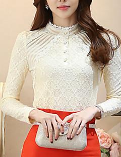 billige Plusstørrelser-Høj krave Dame - Ensfarvet, Blonder Arbejde Plusstørrelser Bluse Polyester