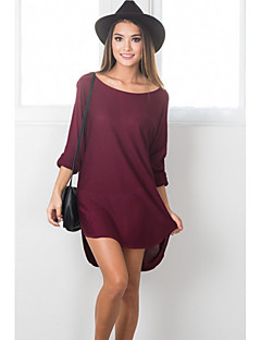 Women's Going out / Casual/Daily Simple / Street chic Loose DressSolid Round Neck Above Knee Long Sleeve Red