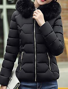 Płaszcz-Płaszcz-Odzież puchowa-Urocza / Moda miejska-Długi rękaw-Poliester