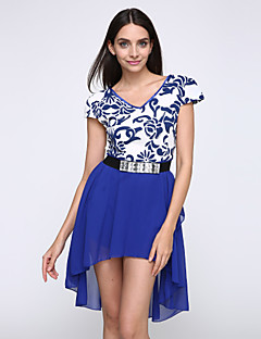 Women's Slim Short-Sleeved Dress Swallowtail Dress