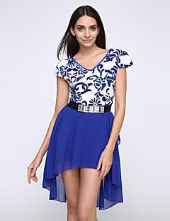 여성의 호리 호리한 짧은 소매 복장 페타 드레스