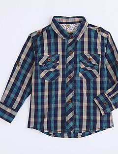 Jungen Hemd-Lässig/Alltäglich Hahnentrittmuster Baumwolle Herbst Blau
