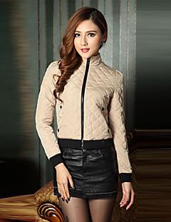 Damen Solide Einfach Ausgehen Jacke,Ständer Frühling Herbst Langarm Baumwolle