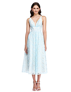 cheap Imperial Blue-A-Line V Neck Tea Length Lace Bridesmaid Dress with Sash / Ribbon by LAN TING BRIDE®
