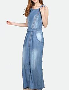 Women's Casual/Daily Sexy Sheath Denim Dress Square Neck Maxi Sleeveless Summer Mid Rise Micro-elastic Thin