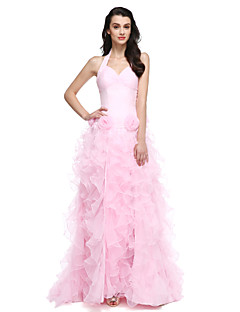 cheap Special Occasion Dresses-Ball Gown Halter Court Train Organza Formal Evening Dress with Flower Ruched Split Front by TS Couture®