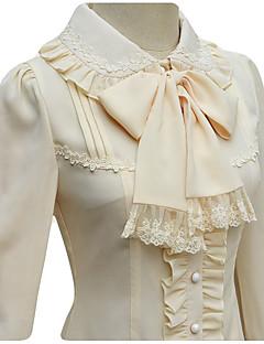 cheap Lolita Fashion Costumes-Sweet Lolita Dress Princess Lace Women's Blouse/Shirt Cosplay White Black Beige Long Sleeves Medium Length