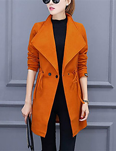 Notch Lapel Langærmet Medium Dame Rød Sort Orange Ensfarvet Efterår Vinter Street Casual/hverdag Trenchcoat,Polyester