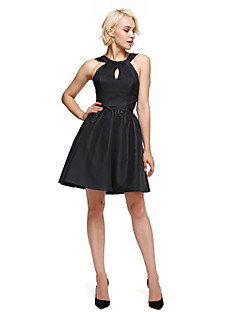 billiga Cocktailklänningar-A-linje Figursydd Halterneck Knälång Taft Cocktailfest Klänning med Draperad av TS Couture®