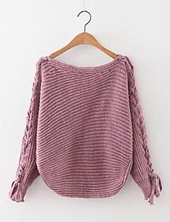 baratos Suéteres de Mulher-Mulheres Manga Longa Cashmere Pulôver - Sólido Cashmere