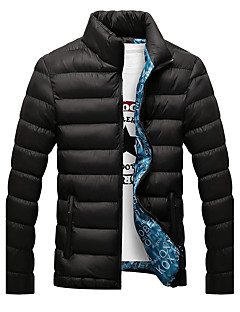 Men's Regular Padded Coat,Casual Daily Solid-Cotton Polyester Polypropylene Long Sleeves