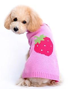 ネコ 犬 セーター 犬用ウェア アクリル繊維 春/秋 冬 キュート カジュアル/普段着 果物 ピンク ペット用