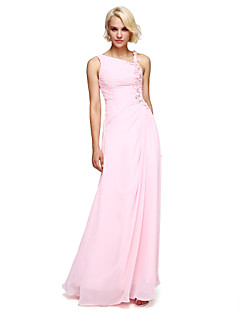 cheap Romance Blush-Ball Gown Notched Floor Length Chiffon Bridesmaid Dress with Beading Flower by LAN TING BRIDE®