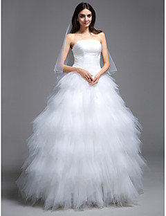 billiga Balbrudklänningar-Balklänning Axelbandslös Svepsläp Tyll Bröllopsklänningar tillverkade med Veckad / Lager av LAN TING BRIDE® / Liten vit klänning