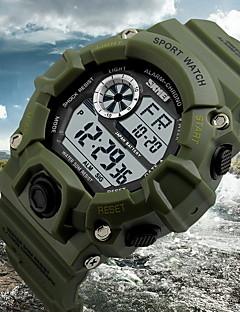 billige Digitalure-SKMEI Herre Digital Armbåndsur Alarm Kalender Kronograf Vandafvisende LCD Gummi Bånd Vedhæng Sort Grøn