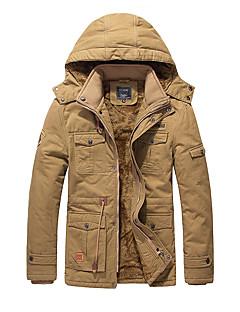 男性 カジュアル/普段着 冬 ソリッド ジャケット,ヴィンテージ フード付き ブラック / ブラウン / グリーン コットン 長袖 厚手