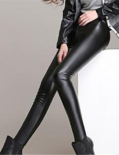 Χαμηλού Κόστους Fleece Lined Leggings-Γυναικεία Καθημερινά Μεγάλα Μεγέθη Ψεύτικο Δέρμα Βασικό Γκέτα - Μονόχρωμο Μεσαία Μέση