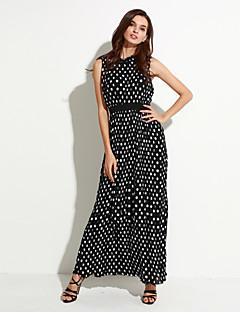 curva doce vestido de balanço praia / plus size boho mulheres, bolinhas em torno do pescoço maxi preto sem mangas de poliéster verão