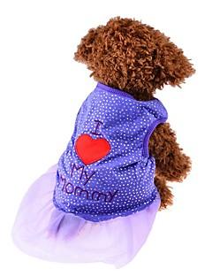 billiga Hundkläder-Hund Klänningar Hundkläder Prinsessa Purpur Rosa Chiffong Cotton Kostym För husdjur Herr Dam Fest Ledigt/vardag Födelsedag Mode Bröllop