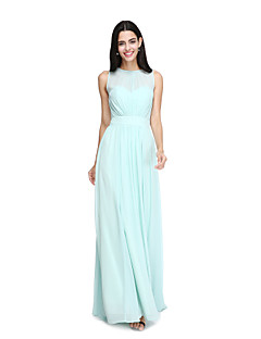 cheap Imperial Blue-A-Line Jewel Neck Floor Length Chiffon Bridesmaid Dress with Sash / Ribbon Pleats by LAN TING BRIDE®