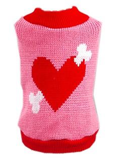 billiga Hundkläder-Katt Hund Tröjor Hundkläder Hjärta Rosa Akrylik Fiber Kostym För husdjur Herr Dam Gulligt Ledigt/vardag Födelsedag