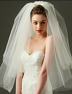 Two-tier Cut Edge Wedding Veil Blusher Veils Elbow Veils Fingertip Veils With Tulle