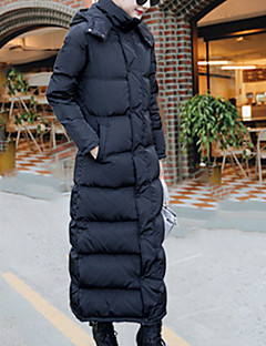 お買い得  レディースダウン&パーカー-女性用 プラスサイズ カジュアル/普段着 キュート ストリートファッション ロング ホワイトダックダウン ダウン - リボン フラワー, ソリッド