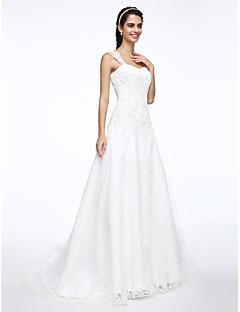 billiga Brudklänningar-A-linje remmar Hovsläp Satäng / Tyll Bröllopsklänningar tillverkade med Bård / Applikationsbroderi av LAN TING BRIDE®