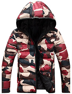 Men's  Winter Large Size  Casual Work Long Sleeve Camouflage Printed Turtleneck Zipper Cotton Warm Hooded Coat  Jacket