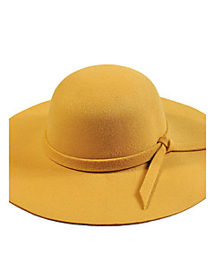 billige Hatter til damer-Dame Vintage Bøttehatt / Fedora Ensfarget Ull
