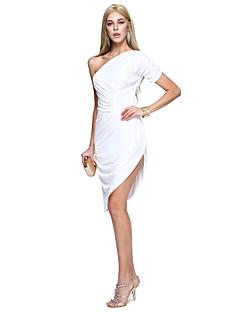 タイト/コラム ワンショルダー 膝丈 マットサテン カクテルパーティー 卒業パーティー ドレス とともに サイドドレープ 〜によって TS Couture®