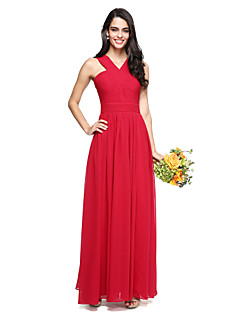 A Line Cross Front Y Neck Floor Length Chiffon Bridesmaid Dress With Criss Ruched By Lan Ting Bride
